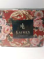 VTG Ralph Lauren Marsielles Floral Red TWIN Fitted Sheet 100% cotton  200 thread