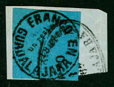 MEXICO 1867 Guadalajara PROVISIONAL un real black on dk blue Sc# 3 used on piece