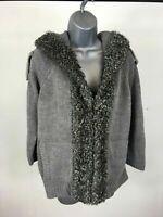 Women's Zara Grey Knit Hooded Hook & Eye Fastening Cardigan Size Medium