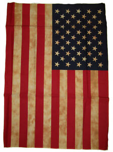 """28x40 Vintage USA American America Tea Stained Sleeved Garden Flag 28""""x40"""""""