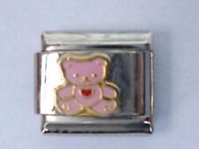 SILVER PINK TEDDY BEAR ITALIAN CHARM fits all 9mm Italian bracelet M12