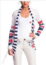 New Desigual Women's JERS OFDIS Cardigan  White/Red/Blue  Size L AU 10-12