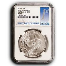 2015-P March of Dimes NGC MS69 First Day of Issue Silver One Dollar Coin