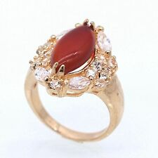 Red Agate Ruby Crystal Ring 18K Yellow Gold Plated Fashion CZ Jewelry Size 8