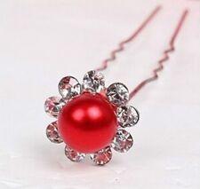 1 épingle à chignons perle rouge et strass , bijou de cheveux mariage