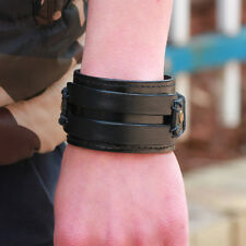 Punk Rock Wide Leather Bangles for Men Cool Cowhide Wristband Bracelets Jewelry