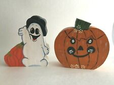 "VTG Halloween Ghost & Pumpkin 5""X5""Statute  Mini 1/2""wide Candle Tapered Holder"