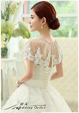 Bridal luxe mariage dentelle shrug wrap châle veste avec perle blanc taille unique