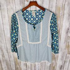 Matilda Jane Women's Kaleidoscope Peasant Top Blue Size Medium