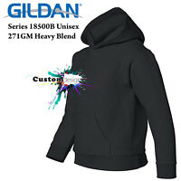 Gildan Black Hoodie Heavy Blend Basic Hooded Sweater Boy Girl Youth Kids