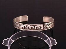 Tibetan Lotus Filigree Carved Mantra OM Mani Padme Hum Amulet Cuff Bracelet