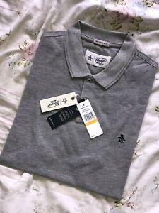"Mens Small Penguin Polo Shirt Bnib Bnwt Grey S Rain Heater Top Slim Fit Ptp 19"""