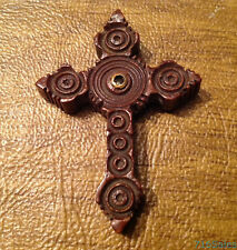 """Antique 2"""" French Carved Wood Stanhope Cross w/ Notre Dame de Lourdes Images"""