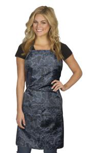 724 Damask Apron Adjustable Neck & Waist Ties Fits Most; Black/Grey