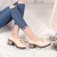 Fashion Women's Block Mid Heels Round Toe Platform Pumps Casual Shoes Slip on