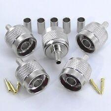 5pcs N Type Crimp Plug Male for RG58 RG142 RG223 LMR195