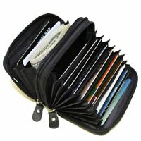 Genuine Leather Credit Card Wallet with Zipper Case Holder Security Travel RFID