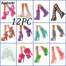 12pairs/lot Fashion Doll Shoes For Barbie Doll Sandals 1/6 Boots Lots of Design