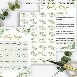 Baby Bingo Milestone card Personalised sign Shower Party Game Unisex Predictions