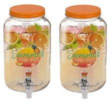 2 x 3L GLASS DISPENSER JAR DRINK COCKTAIL BEVERAGE WATER TAP PUNCH JUICE HOME