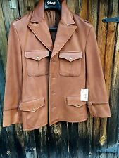 RARE Cowhides LEATHER FIELD  Leather JACKET Supple Brown #887 New Tag SAMPLE