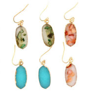 Women's Oval Design Druzy Stone Drop Earrings with Sea Shell Fragment Inlay