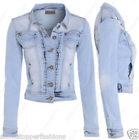 NEW DENIM JACKET Womens Jean Waist Jackets LADIES Stonewash Blue Size 8 10 12 14