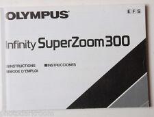 Olympus Super Zoom 300 Film Camera Instruction Manual Book En Es Fr USED B40