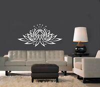 Vinyl Wall Decal Bedroom Sticker Lotus Flower Yoga Studio Bohemian Decor TK84