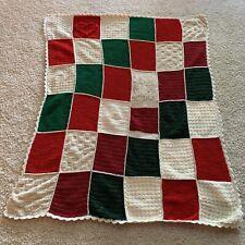Christmas Granny Square Crochet Afghan Throw  48x62 Farmhouse Handmade