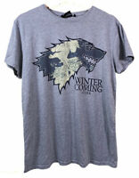 Primark Game of Thrones Winter is Coming Stark Grey T-Shirt Graphic Print (M)