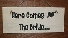 Pageboy Sign, Here Comes The Bride. Wooden Wedding Sign with cupid heart