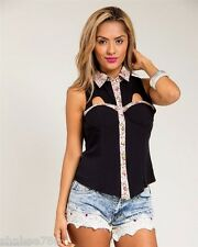 J2 Black Sleeveless Sexy Button up shirt TOP Sexy Cover Blouse Juniors S M L