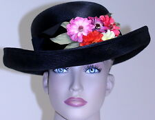 NWT VINTAGE women's HAT PLAZA SUITE BETMAR black straw velvet band flowers