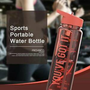 Water Bottle + Straw Plastic BPA Free Leakproof Sports Portable Drinks Mugs NA