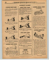 1927 PAPER AD 10 PG Stanley Siegley Bed Rock Bailey Wood Plane Tools Bartlett's