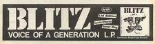 16/10/82Pgn27 Advert: Blitz Album voice Of A Generation 3x11