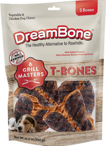 Dreambone Grill Masters T-Bones No Rawhide Free Dog Treats Chews 5 Bones 10.2 Oz