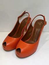 GIUSEPPE ZANOTTI Orange Leather Slingback Opentoe Heeled Shoes Heels 5 / 38
