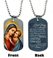 DOG TAG NECKLACE - Hail Mary Prayer 1 Cross Christian Religious God Jesus Bible