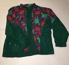 Vintage Windbreaker Track Outfit Bold Spirit Women Jacket Pants Xl Green Flowers