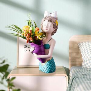 Girl Shape Flower Vase Planter Pot Resin Desktop Sculpture Photo Props Decor