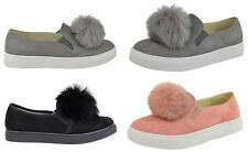 Womens Pom Pom Shoe Suede Slip On Trainers Plimsoll Pumps Comfort Sneakers Flats