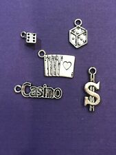 Tibetan Silver Lot Casino Dice Cards Charms 12 pieces for Crafts and Jewelry DIY