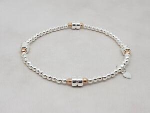 Sterling Silber & Rose Gold Perlen Stretch-Armband