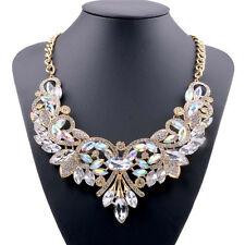 Charm Rhinestone Crystal Chunky Statement Bib Pendant Chain Choker Necklace@ZY