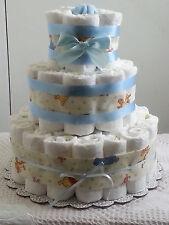 3 Tier Winnie the Pooh Boy Diaper Cake Baby Shower Centerpiece Gift - Blue
