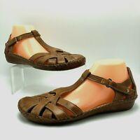 Pikolinos Womns Sandals Puerto Vallarta Brown Leather T-Strap Comfort 41 10.5 11