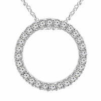 "1.30 Ct Diamond Circle Of Life Pendant Necklace 10K White Gold Finish 18"" Chain"