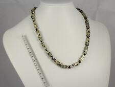 Kette aus Dalmatiner-Jaspis in Würfel-Form und Onyx, 925er Silber, Länge: 48 cm